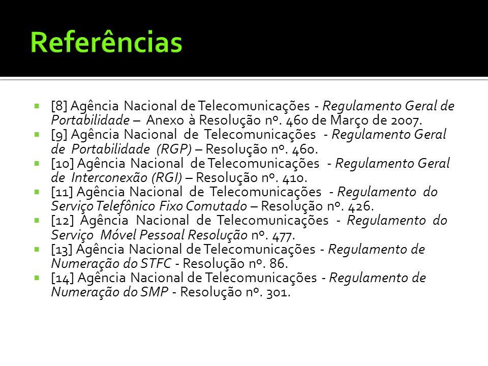Referências [8] Agência Nacional de Telecomunicações - Regulamento Geral de Portabilidade – Anexo à Resolução nº. 460 de Março de 2007.